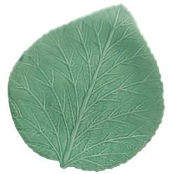 Feuille d'Hortensia Vert d'Eau en Faïence émaillée main