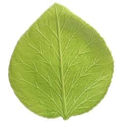 Feuille d'Hortensia Vert Pomme en Faïence émaillée main