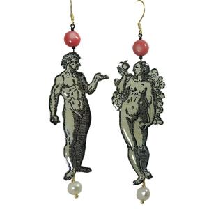 Boucles d'Oreilles Adam et Eve en Découpage sous résine, Perles Baroque et Corail