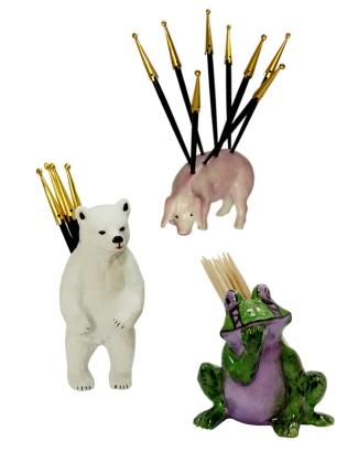 Portes Piques Ours, Cochon et Grenouille en Porcelaine de Limoges Peinte à la Main