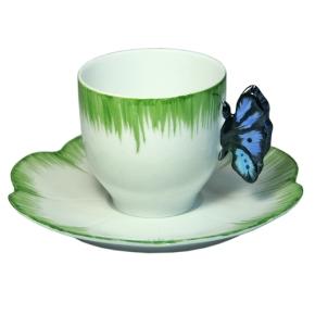 Service Papillon Tasse Cafe Bleue, Porcelaine de Limoges peint Main
